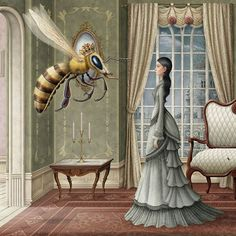 "djinn-gallery: ""Oscar T. Fantasy Paintings, Fantasy Art, Bee Art, Mural Painting, Queen Bees, Oscars, Textured Background, Illustrators, Cool Art"