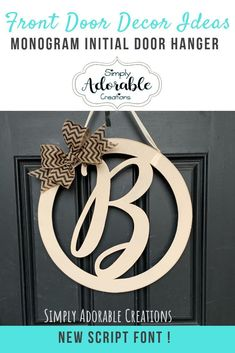I am loving our new script font monogram door hangers. Monograms are always in season and the perfect addition to your front porch decor. Check out all of our monogram decor items available over on our website. Vine Monogram Font, Circle Monogram, Monogram Letters, Wooden Monogram, Letter Door Hangers, Initial Door Hanger, Front Door Decor, Front Porch
