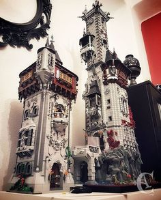 OMG !!!! had to share this masterpiece Cesar Corvus Auriac (fb) My two monsters almost finished: ✠ Left: Stayr's tower - 4300 pieces aprox. ✠ Right: Raven's tower - 9000 pieces aprox. 60cm and 1 meter tall the level of detail is unreal - if you would like to be featured in brickgeekz daily feature use #brickgeekz or #the_brickgeek #awesome #lego #moc #amazing #tower #gothic #dark #spooky #horror #medieval #king #queen #instalego #instagood #afolclub #afol #creator