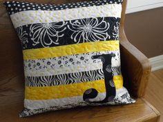 Quilted Pillow with monogram. Sewing Pillows, Diy Pillows, Custom Pillows, Decorative Pillows, Throw Pillows, Handmade Cushions, Patchwork Quilt, Patchwork Cushion, Quilted Pillow