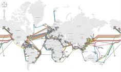 The secret world of submarine cables: interesting article on internet cables laid across the ocean. Includes a historical map of telegraph cables. Information Design, Information Graphics, Underwater Cable, Submarine Cable, Digital Life, The Knowing, Fiber Optic Cable, The Secret World, Arquitetura