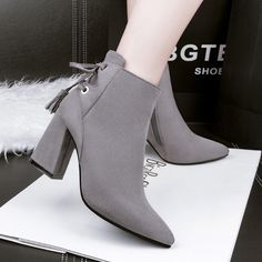 0c078f7d2 833 6 Fashion Women Ankle Boots Slim Sample Solid Color Block Bandage Chunky  Shoes Sexy Pointed Suede High Heels Pumps Shoes Shoe Boots From  Milky store