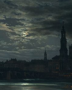 View of Dresden by Moonlight (detail), Johan Christian Dahl, Oil on canvas, c. 1839