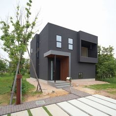 Modern Two-Story House Modern Minimalist House, Modern Tiny House, Unique House Design, Dream Home Design, Minimal Architecture, Architecture Design, Building Design, Building A House, My House Plans