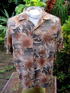 HAWAIIAN Aloha SHIRT M pit to pit 23.5 CARIBBEAN linen rayon blend tropical  #Caribbean #Hawaiian