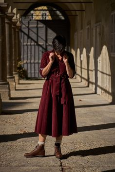 Vintage inspired Dress made from a corduroy fabric featuring a buttoned front and revere collar, side pockets and belt. Lab, Revere Collar, Vintage Inspired Dresses, Stunning Women, Overall Dress, Corduroy, Midi Skirt, Overalls, Burgundy