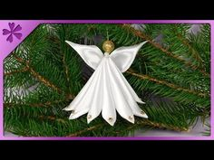 DIY 👼 Ribbon angel 😇 step by step (ENG Subtitles) - Speed up Christmas Angel Crafts, Paper Christmas Decorations, Felt Christmas Ornaments, Angel Ornaments, Holiday Crafts, Christmas Crafts, How To Make Ribbon, Diy Ribbon, Ribbon Crafts