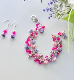Excited to share this item from my #etsy shop: Boho chic bracelet, pink and purple cluster bracelet, jewelry set for women, gift for her #pink #bracelet #women #bohohippie #jewelryset #chachabracelet #handcrafted #giftforher #chunkybracelet