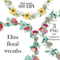Eliza Floral Wreaths eucalyptus flower decoration digital Floral Wreaths, Flower Decorations, Graphic Design, Digital, Handmade Gifts, Flowers, Etsy, Art, Flower Crowns