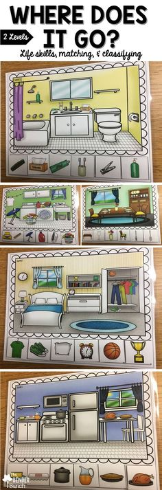Classifying activities to help your students classify items that belong in a specific household setting. Two levels & 10 mats.
