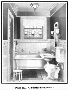 Tiny bathroom. Laurelhurst Craftsman Bungalow: Mott's 1914 Plumbing Catalog