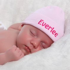 e40899ba9cf Solid Pink Personalized Newborn GIRL hospital hat with PINK Letters