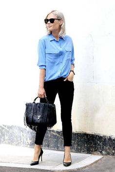 Office Style // Button-down shirt with black jeans.