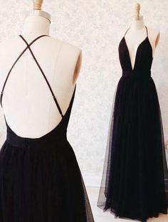 Formal Black Prom Dresses, tulle open back Evening Dress, v neck long prom dress 2017,evening dress for Women, Prom Dress