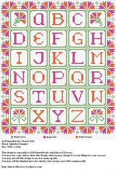 cross stitch - floral alphabet
