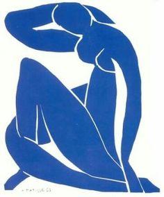 """Henri Matisse - """"Nu azul"""" - 1952. Mesmo quando estava com mais de 80 anos e com uma saúde frágil, o pintor e escultor francês e, mais tarde, mestre de recortes pintados Henri Matisse ainda estava ligado à sua arte."""