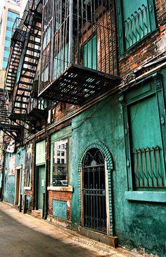 teal street with brown brick