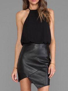 Black Halter With Chiffon Asymmetrical Dress -SheIn(Sheinside)