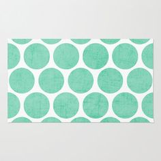 mint polka dots Rug by Her Art