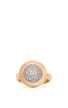 Coléoptére: 82 diamonds on a platinum dome. Ring in solid 18k royal yellow gold. All hand-fabricated.