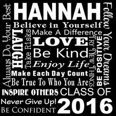 Custom Name Graduation Class of 2016 Party Banner, Decor, High School, Graduation, Personalized Name,