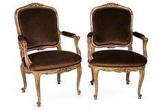 Cocoa Velvet Chairs, Pair on OneKingsLane.com