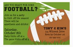 Football Fun Football Party Invitation from Paper So Pretty