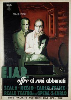 Manifesto EIAR (Ente Italiano Audizioni Radiofoniche), di Marcello Nizzoli (1887-1969)
