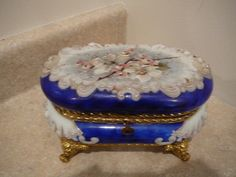 S38 Large Antique C F Monroe Blue Wave Crest Art Glass Dresser Box Casket | eBay