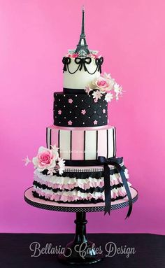 Multi-Tiered Pink & Black Paris Themed Cake