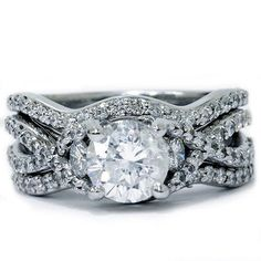 2.50 Carat White Diamond 14K Real White Gold 3PCS Wedding Set Engagement Ring #AraskaDiamond #SolitairewithAccents #Engagement