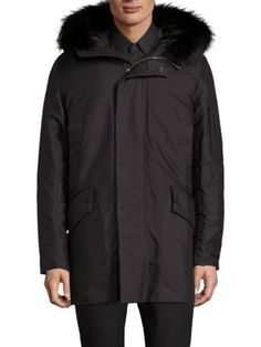 THEORY Hudson Gambell Fur-Trimmed Coat. #theory #cloth #coat