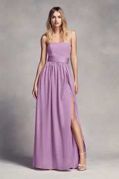 a6ce2aa0d2c Long Strapless Bridesmaid Dress with Belt Style VW360307