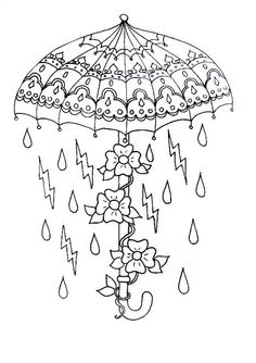 Umbrella and raindrops coloring page