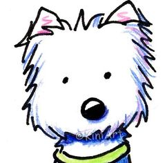 Original ACEO Art Westie Terrier Dog Breed Cartoon. $40.00, via Etsy.