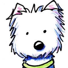 Original ACEO Art Westie Terrier Dog Breed Cartoon. $40.00, via Etsy.