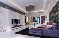 decorating Purple living room furniture