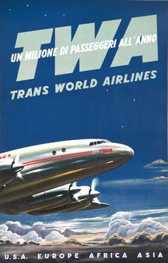 Artist Unknown poster: TWA Un Milione di Passeggeri all'Anno (A Million Passengers Every Year)
