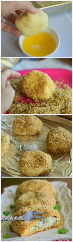 kiss recipe: Pesto Chicken Pillows gonna make this with vegan meatless meat Savoury Dishes, Food Dishes, Side Dishes, Savory Foods, Main Dishes, Chicken Pillows, Kisses Recipe, How To Make Pesto, Good Food
