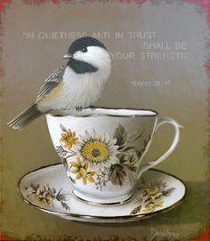 Isaiah In quietness and in trust shall be your strength.by David Arms Arm Art, Scripture Verses, Scriptures, Favorite Bible Verses, Little Birds, Bible Art, Beautiful Birds, Pet Birds, Drawings