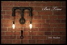 Bar Time - Industrial Plumbing Pipe Beer Bottle Wall Sconce Light Fixture - Steampunk