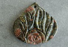 40mm Carved Stone Flower Pendant, Plumite Jasper, Hand Carved Gemstone Red, Green Stone Flower Pendant 40x38x7mm Teardrop by TheBeadBandit on Etsy