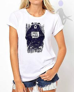 Free hugs bear sun glass #hipster dtg print #ladies women t-shirt #white top w10,  View more on the LINK: http://www.zeppy.io/product/gb/2/172090046809/