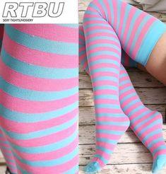 Hosiery & Socks Decora Candy Fairy Kei Punk Emo Neon Pink +Aqua Mint Stripe Thigh Hi Stockings Green Tights, Pink Tights, Striped Stockings, Striped Tights, Sexy Socks, Cute Socks, Comfy Socks, Nylons, Punk Shoes