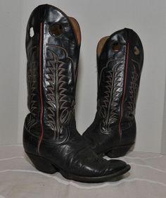 VINTAGE TONY LAMA BLACK COWBOY BOOTS 8.5 D Made In U.S.A. Texas #TonyLama #CowboyWestern