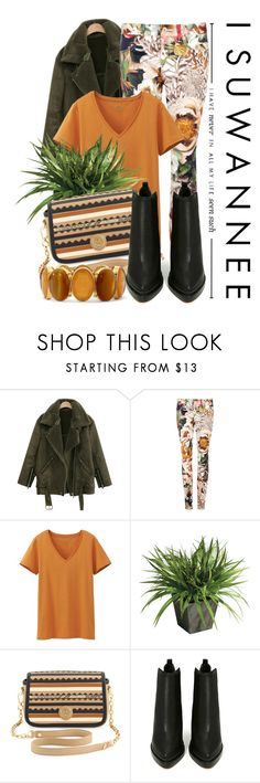 """""""Never In All My Life"""" by queenrachietemplateaddict ❤ liked on Polyvore featuring Ted Baker, Uniqlo, Ethan Allen, Tory Burch, Jeffrey Campbell, Monet, floralpants, jacket, ankleboots and stripedbag"""