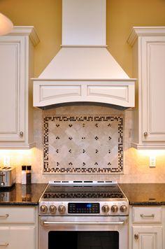 White Cabinets, Dark Granite, Stainless Steel Appliances, Custom Tile  Backslash, Yellow Kitchen