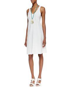 Organic-Linen Knee-Length Bias Dress by Eileen Fisher at Neiman Marcus.