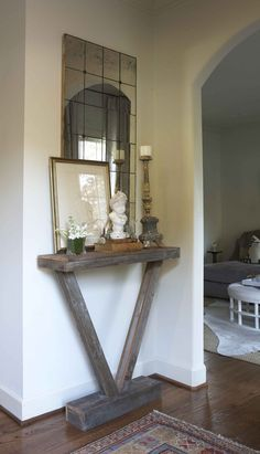 Make this small/skinny table for end of long hallway, prop mirror over