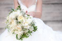 White garden rose bouquet.  Ely Fair Photography.
